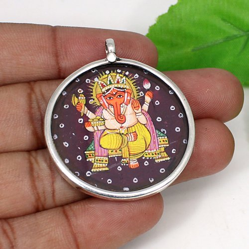 Newest Designer Collection Lord Ganesha Painting Pendant Solid 925 Sterling Silver Jewelry Spiritual Handmade Pendant