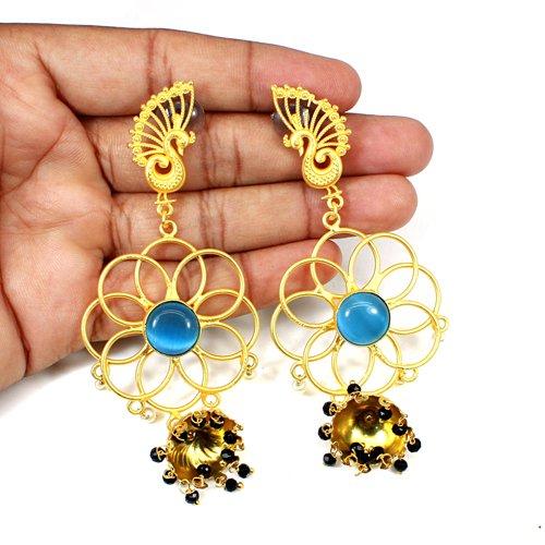 Newest Designer Collection Multi Gemstone Earring Peacock Designer Boho Earring Long Hanging Dangling Thanksgiving Gift