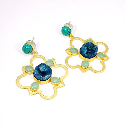 Newest Designer Collection Multi Gemstone Earring Vermeil Cocktail Earring Women Long Hanging Dangling Mother's Day Gift