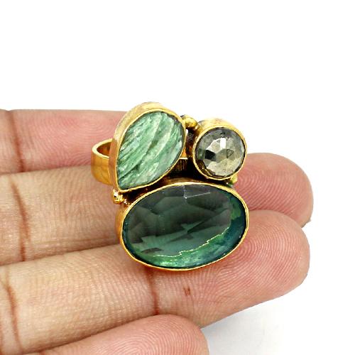 Newest Designer Collection Natural Multi Gemstone Ring Brass Vermeil Ring Unisex Wedding Engagement Rings Bohemian Handmade Ring
