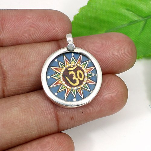 Newest Designer Collection Om Pendant Solid 925 Sterling Silver Jewelry Spiritual Statement Pendant Unisex Casual Paint Pendant