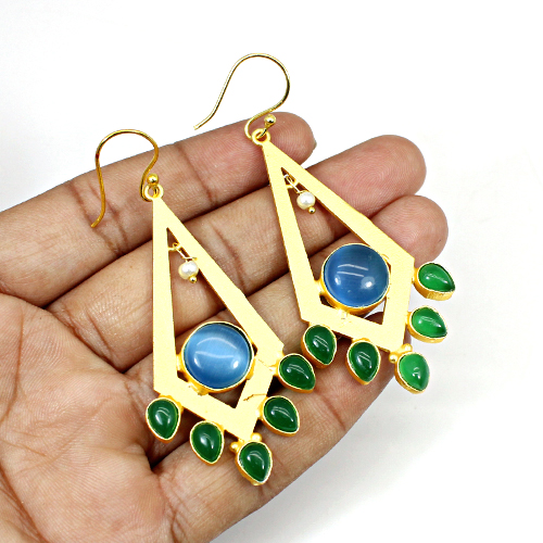 Newest Designer Collection Synthetic Blue Cat's Eye & Green Onyx Gemstone Earring Long Hanging Dangling Women Wedding Engagement Gift