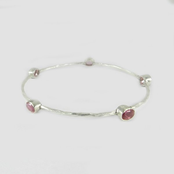 Newest Designer Selling Pink Tourmaline Hydro Bangle Solid 925 Sterling Silver Bangle Hammered Bangle Thanksgiving Gift For Her