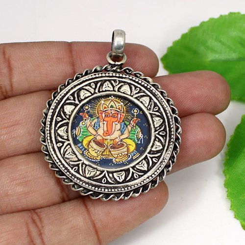 Newest Selling Lord Ganesha Painting Pendant Religious Handmade Pendant Solid 925 Sterling Silver Jewelry Spiritual Pendant