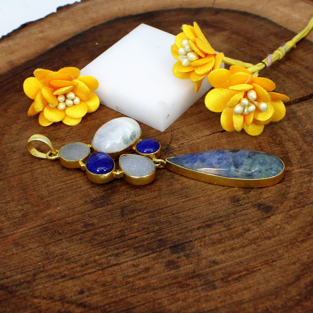 Newest Selling Multi Gemstone Pendant Brass Gold Plated Designer Pendant Women Statement Pendant Birthday Gift For Her