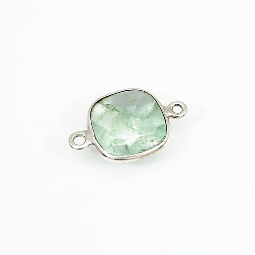 Newest Selling Natural Aqua Crackle Glass Gemstone Connector Solid 925 Sterling Silver Double Loop Connector For Jewelry Making