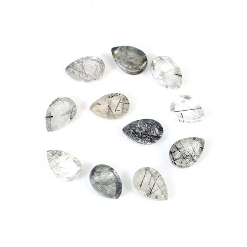 Newest Selling Natural Black Rutile 11 Pcs Lot Pear Cabochon 9x6mm 17.6 Cts Loose Gemstone