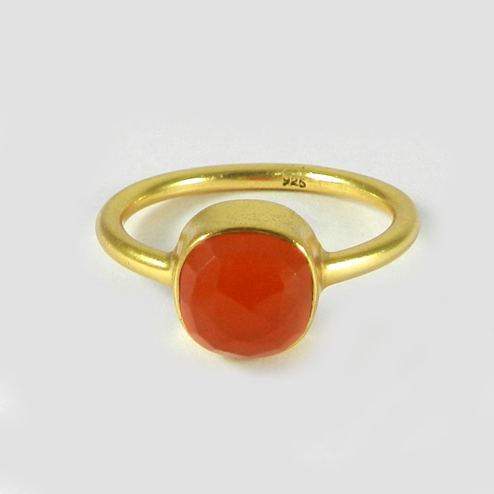 Newest Selling Synthetic Red Coral Gemstone Ring Solid 925 Sterling Silver Ring Boho Gold Plated Charm Ring Wedding Ring