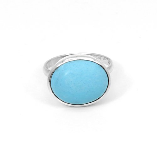Newest Selling Synthetic Turquoise Gemstone Ring Solid 925 Sterling Silver Rings Oval Cabochon Rings Statement Rings