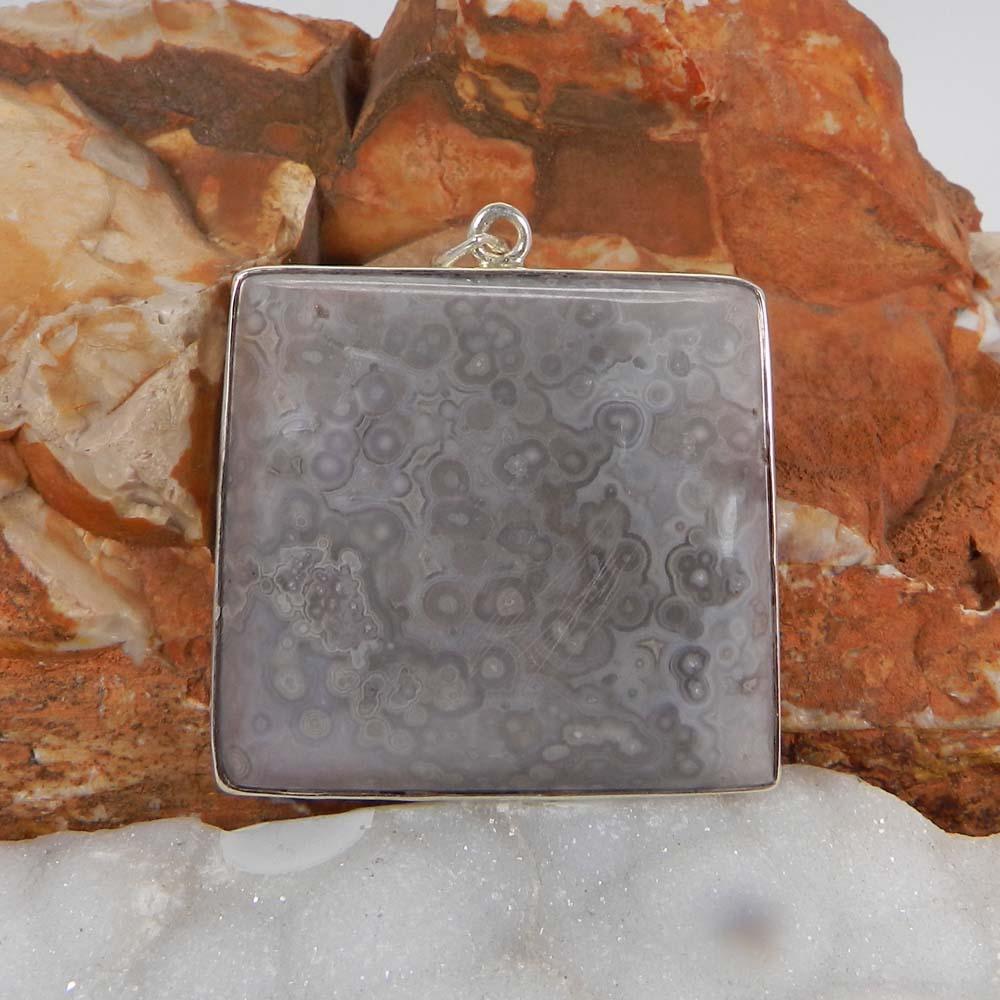 Ocean Jasper 925 Sterling Silver Designer Bezel Set Pendant