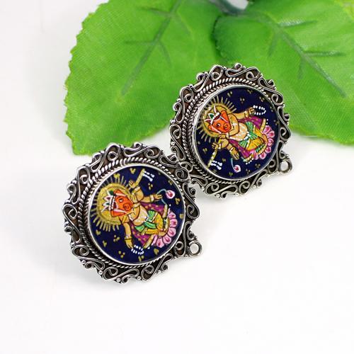 OEM Export Lord Ganesha Painting Earring Solid 925 Sterling Silver Earring Oxidized Designer Handmade Stud Spiritual Earring
