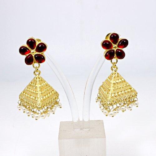OEM Export Mandarin Garnet Hydro & Pearl Gemstone Hanging Dangling Women Wedding Drop Earring Triangle Designer Jhumkas