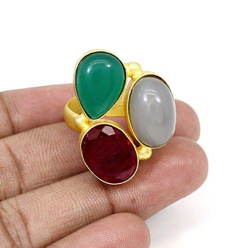 OEM Export Multi Gemstone Ring Gold Plated Adjustable Ring Brass Rings Bohemian Handmade Unisex Rings Wedding Engagement Ring