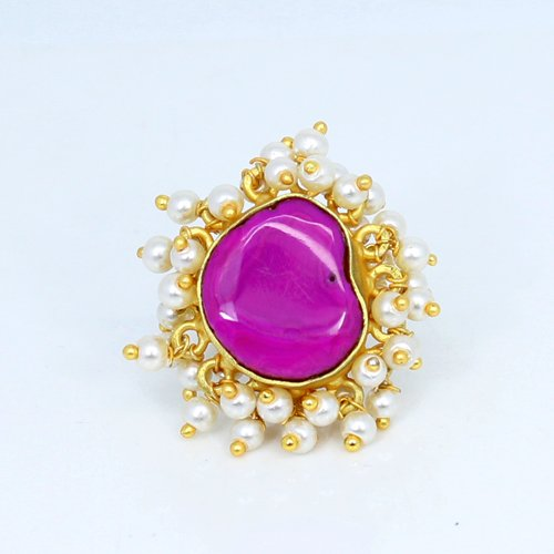 OEM Export Natural Pink Chalcedony & Tiny Pearl Ring Brass Gold Plated Adjustable Rings Designer Rings Women Wedding Rings