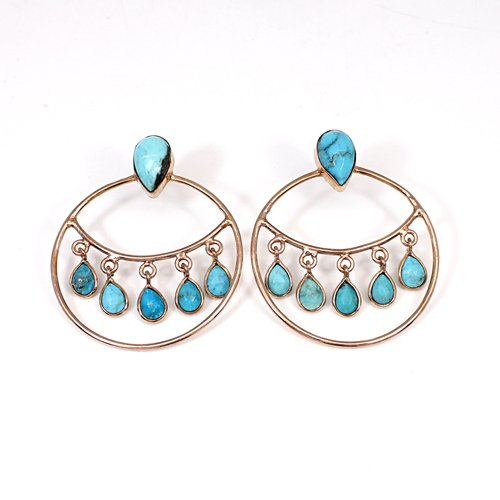 OEM Export Natural USA Turquoise Gemstone Earring Brass Rose Gold Plated Hanging Dangling Women Roundel Dangle Cocktail Earring