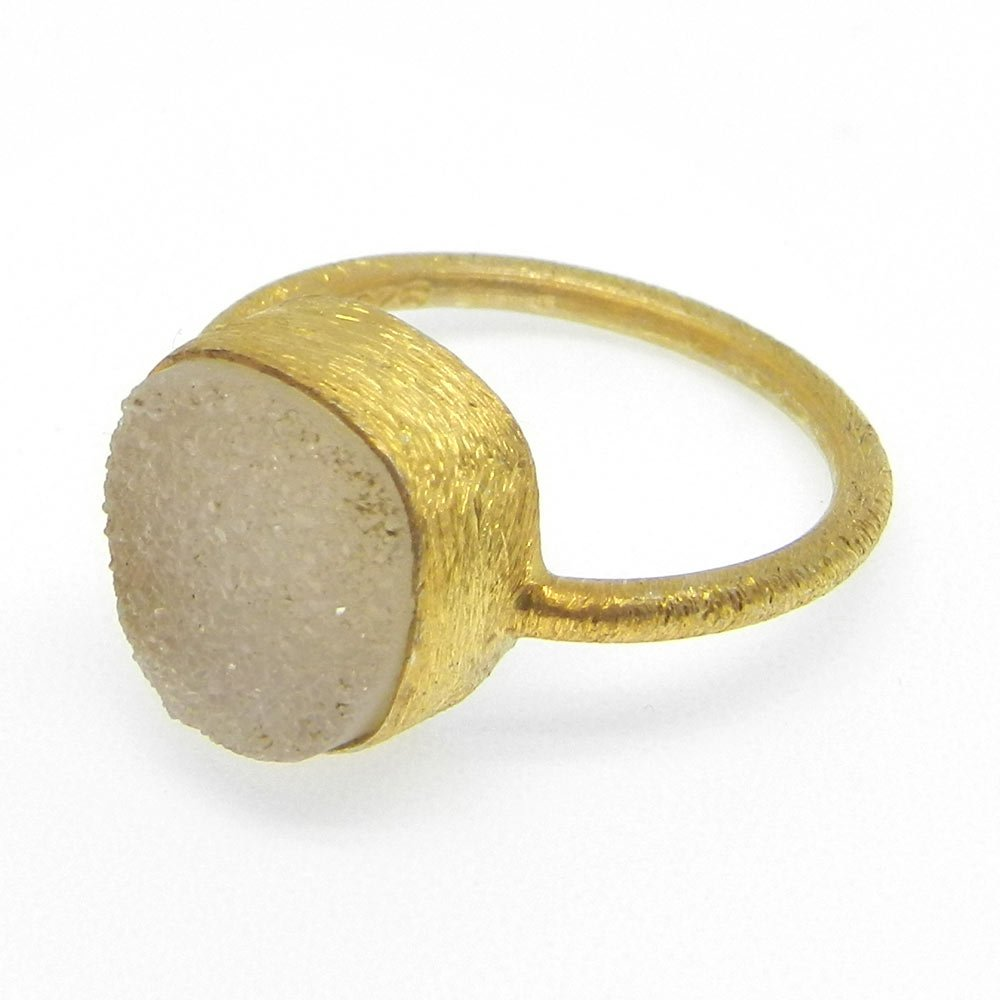 OEM Export Ring Natural White Druzy Gemstone Ring Solid 925 Sterling Silver Ring Sold Plated Matt Finish Ring