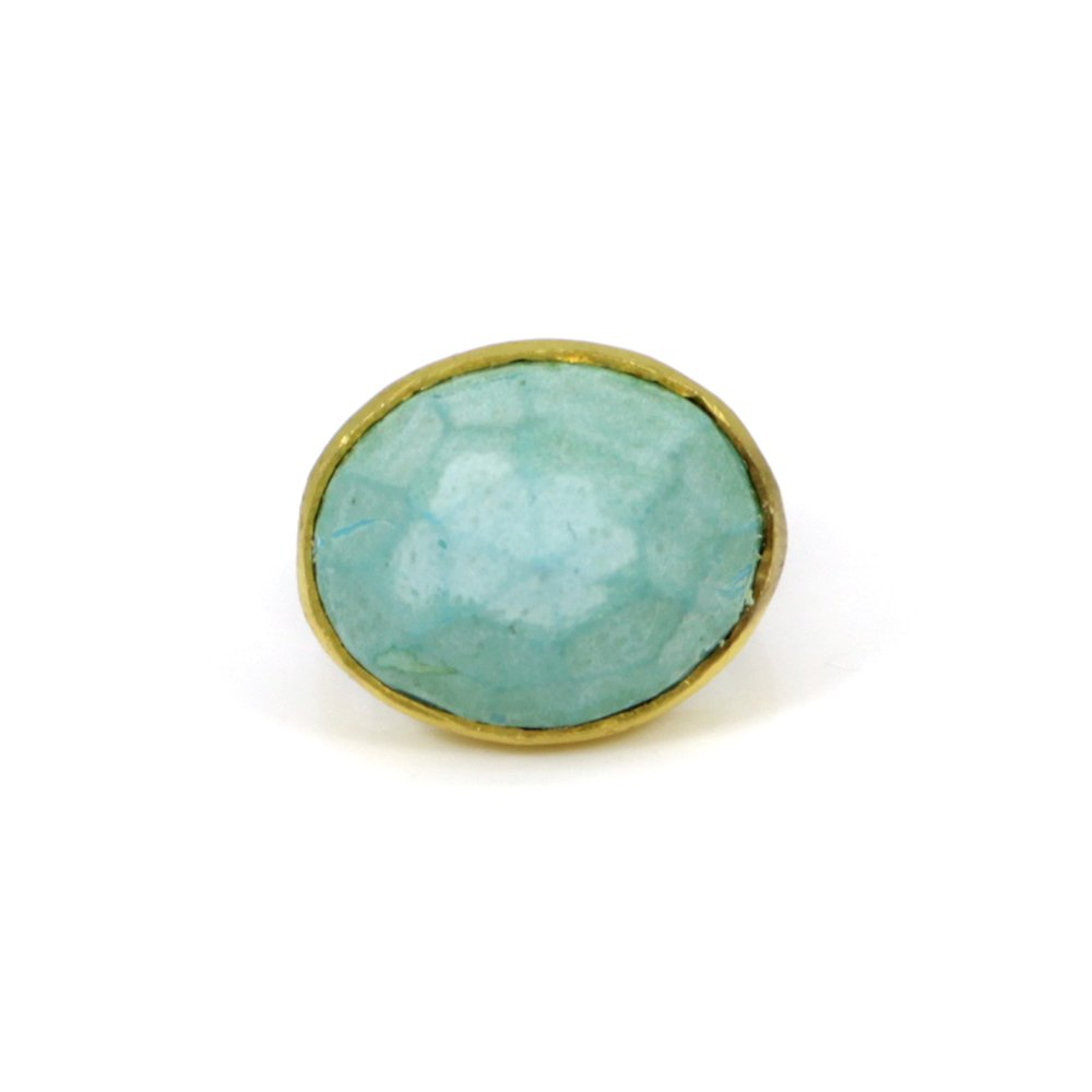OEM Export Synthetic Blue Turquoise Gemstone Ring Brass Gold Plated Rings Oval Ring Mens Gift Rings Art Deco Signet Ring