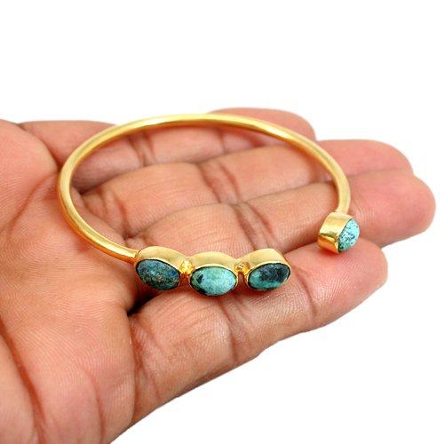 OEM Factory Price Chrysocolla Gemstone Bracelet Gold Plated Adjustable Bracelet Women Bracelet