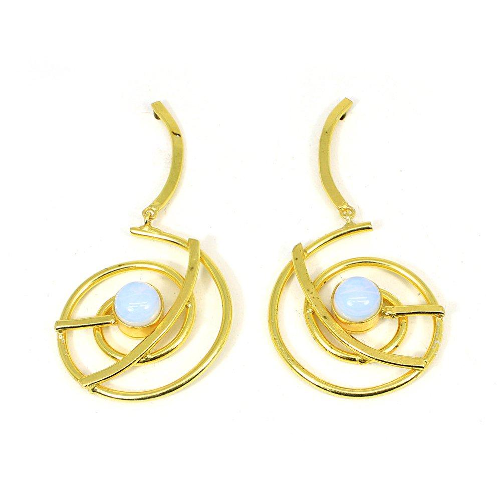 Opalite Hydro Gemstone Brass Gold Plated Designer Earring