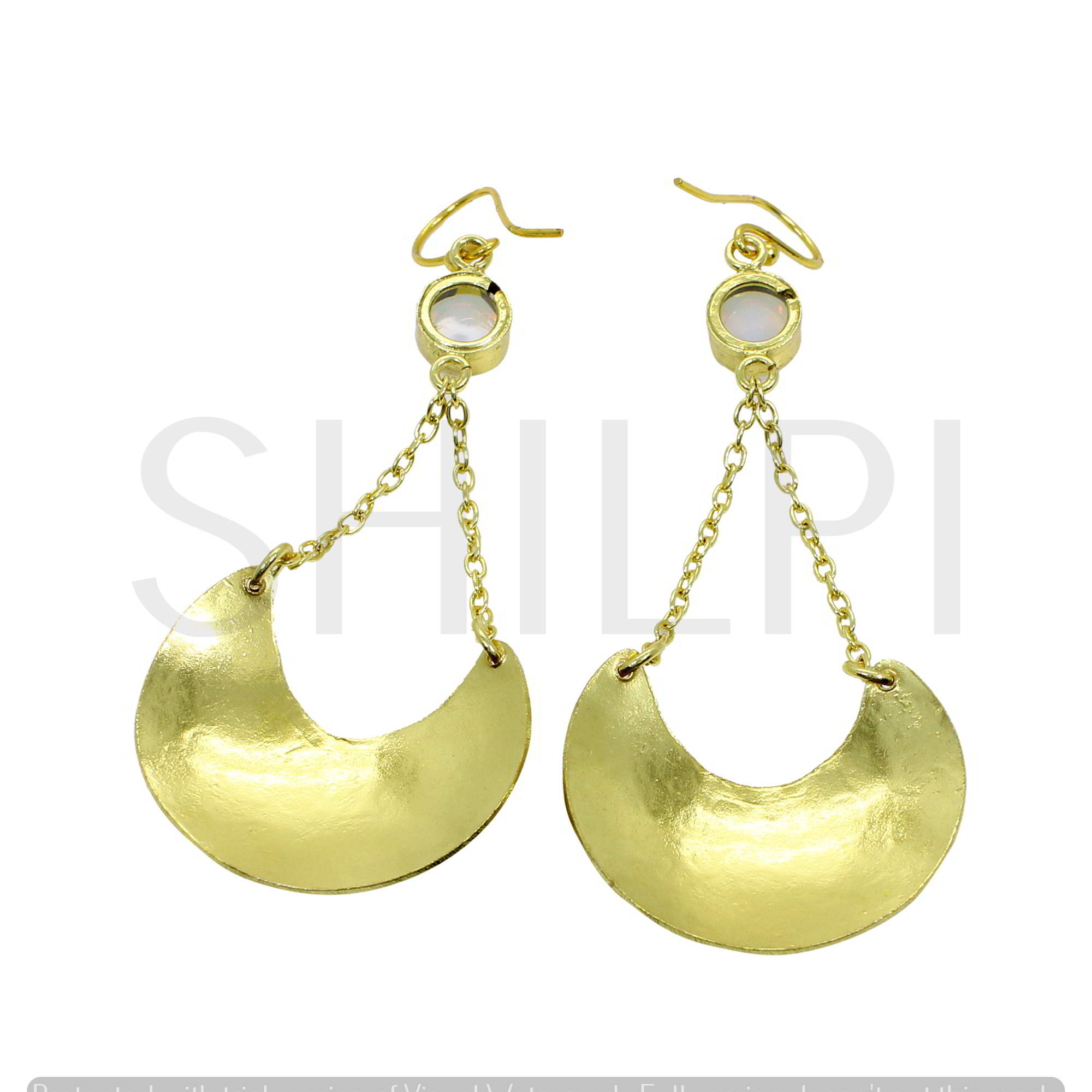 Opalite Hydro Gold Plated Moon Shape With Chain Dangle Earrings