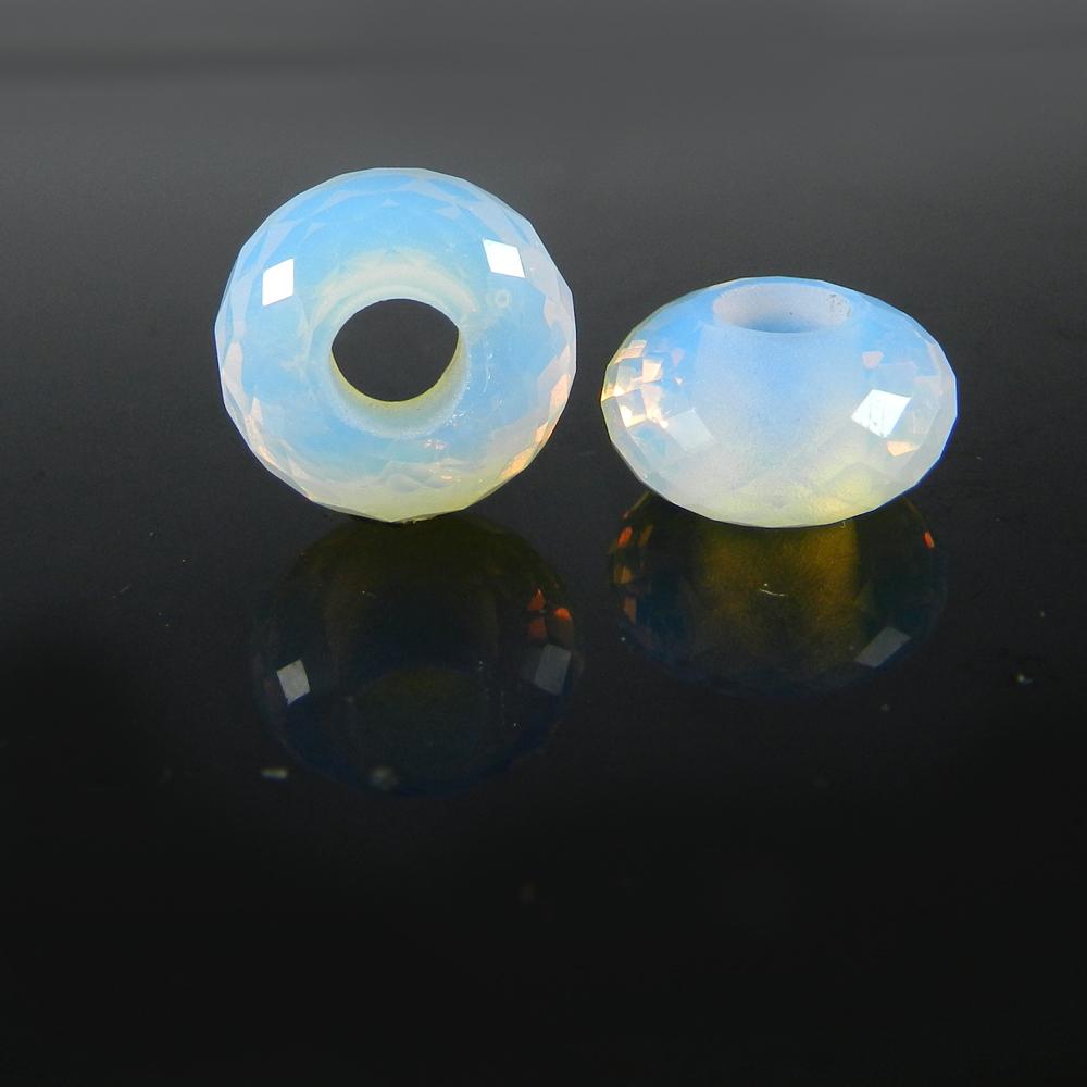 Opalite Hydro Roundel Facet Big Hole Beads For Bracelet Making
