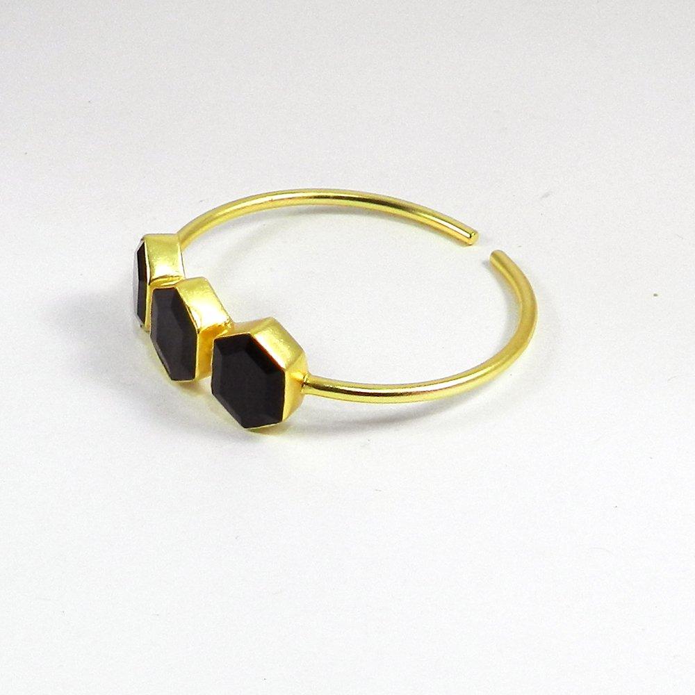 Otto Black Onyx Gemstone Gold Plated Adjustable Bezel Bangle