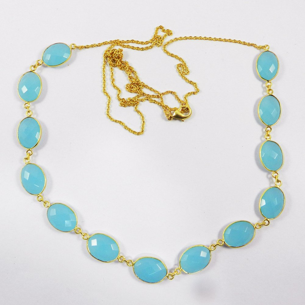 Pammi Aqua Chalcedony Gold Plated 34 inch Long Chain Designer Necklace