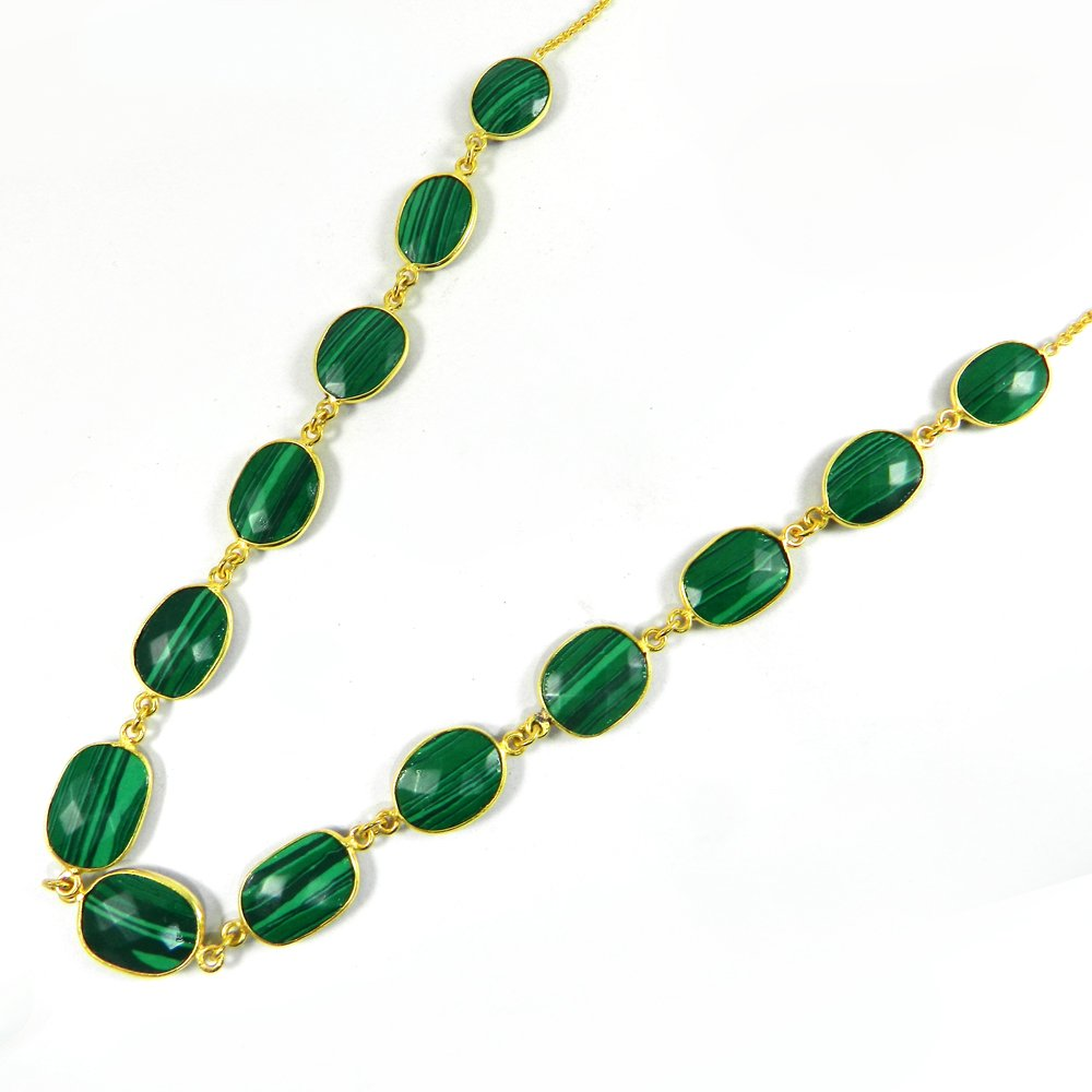 Pammi Natural Malachite 925 Sterling Silver 22 inch Long Chain Necklace