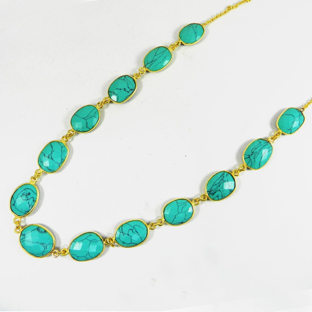 Pammi Natural Turquoise 925 Sterling Silver 22 inch Long Chain Necklace