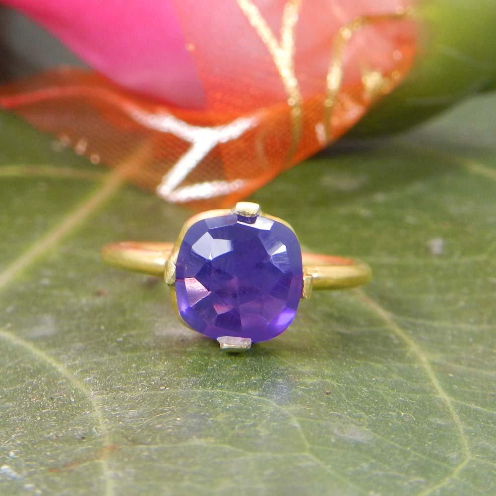 Patsi Amethyst Gemstone Silver Prong Set Ring