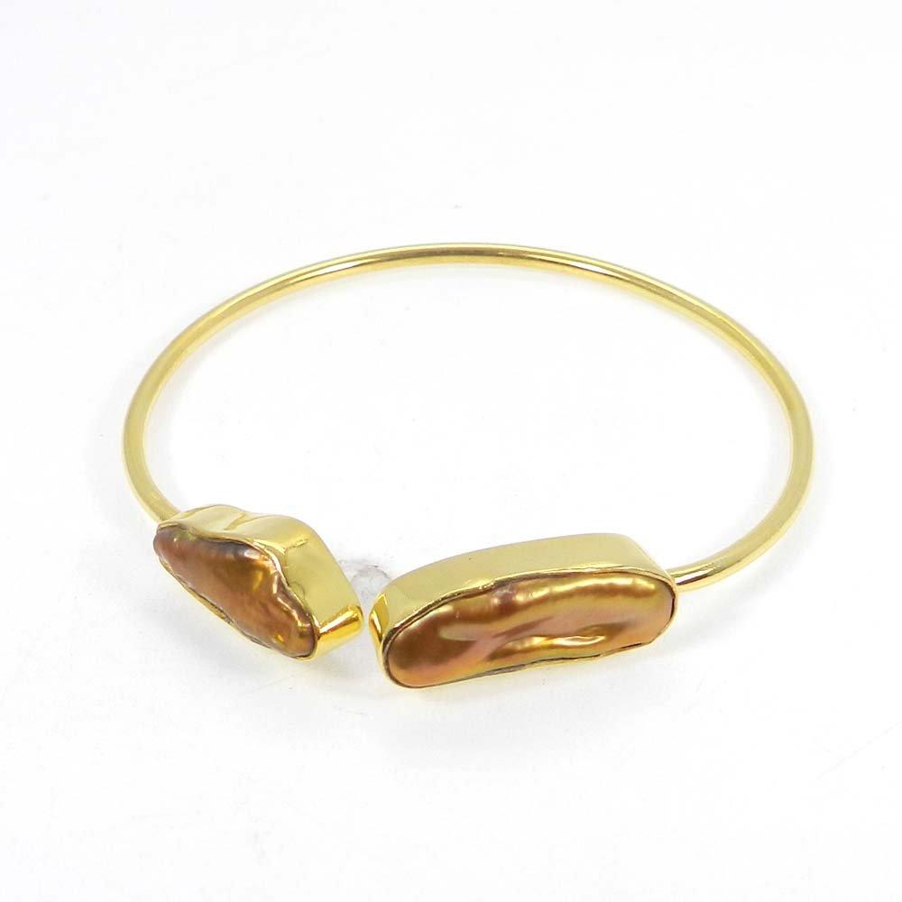 Peach color pearl Uneven Gold Plated Adjustable Bezel Bracelet