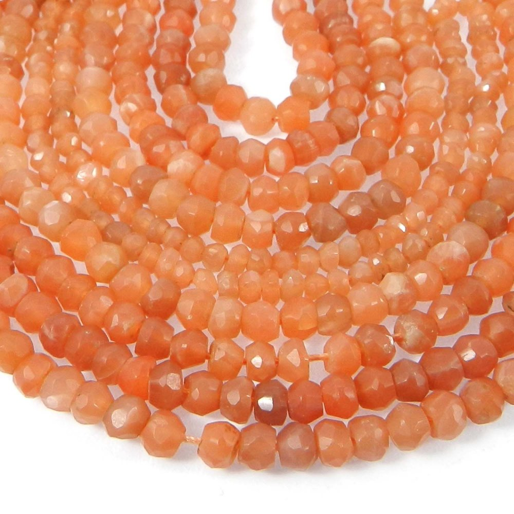 Peach Moonstone 4mm Roundel Facet Gemstone Strand Beads