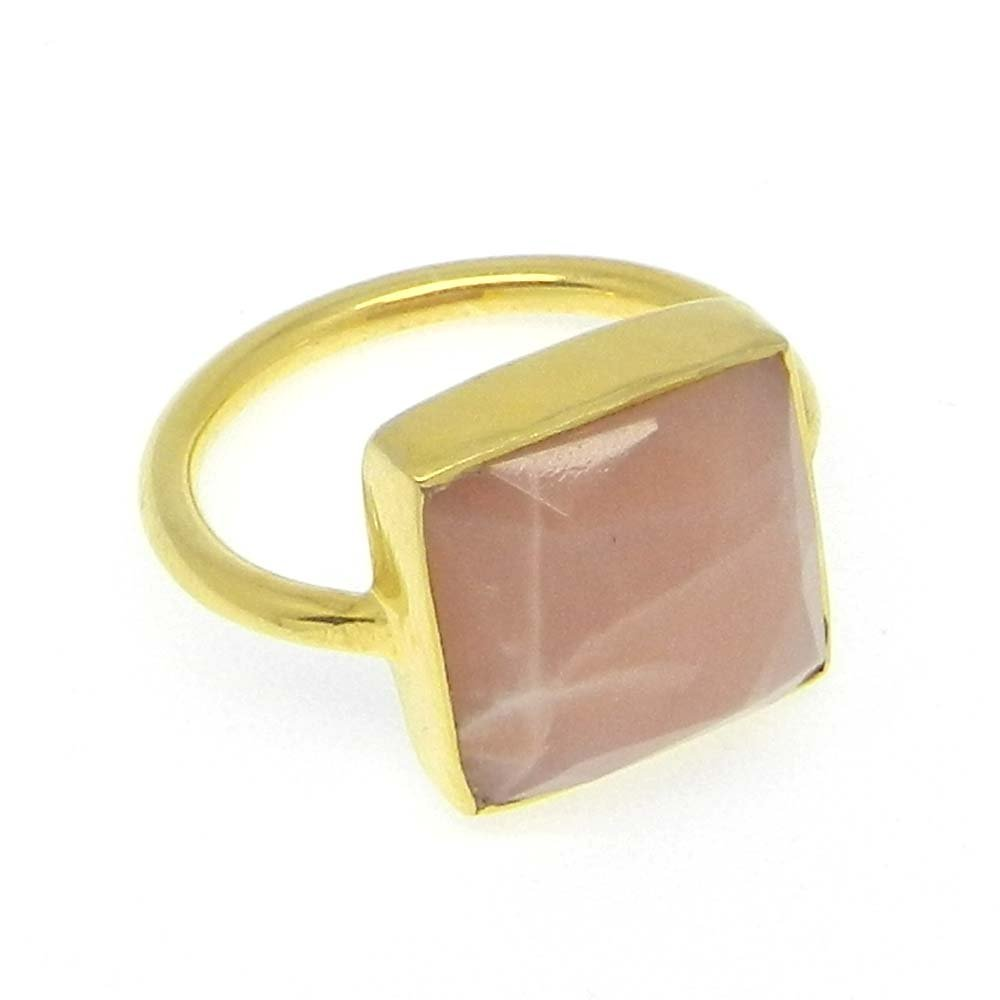 Peach Moonstone 925 Sterling Silver Gold Plated Bezel Ring