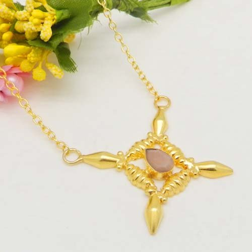Peach Moonstone Gold Plated 32 Inch Long Chain Designer Necklace