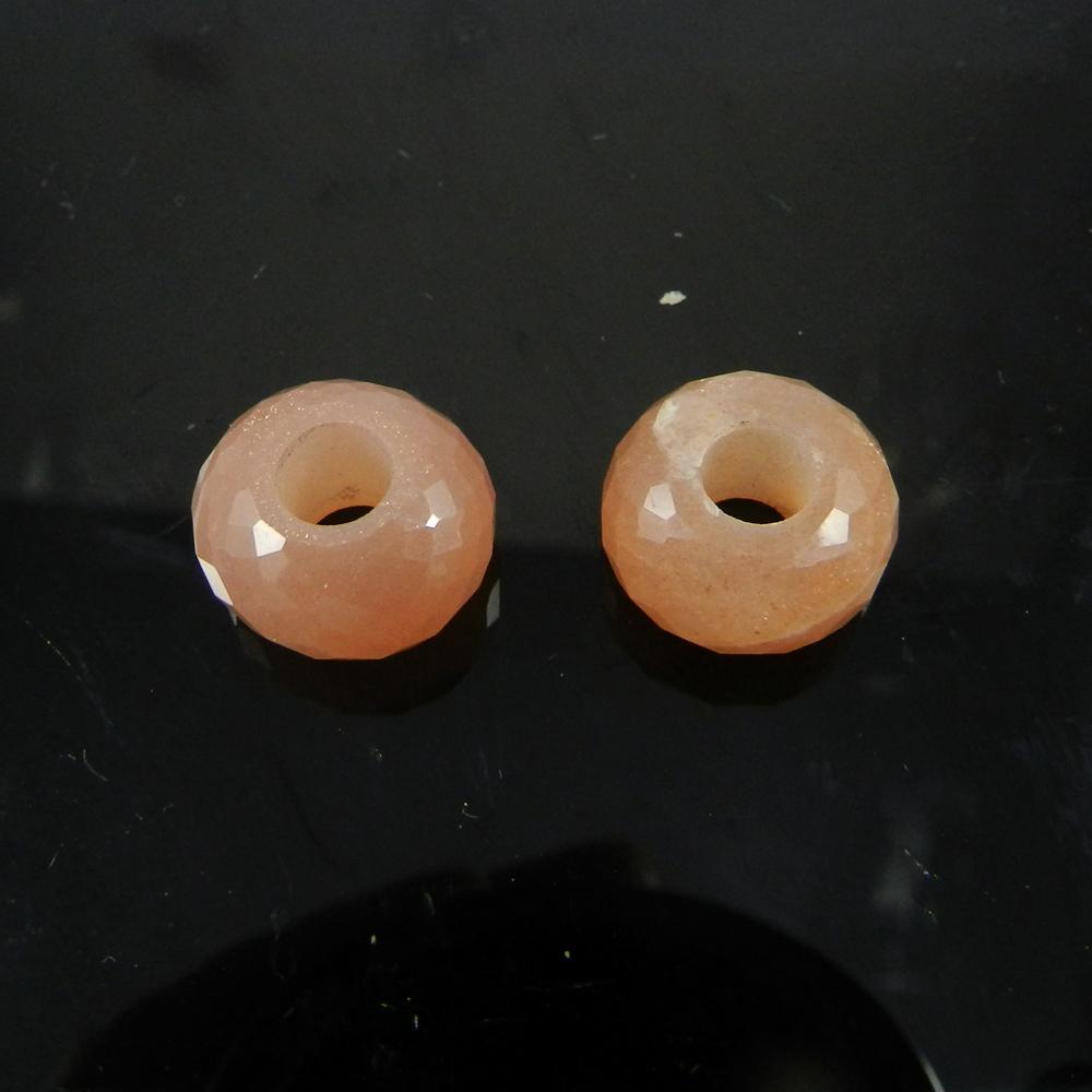 Peach Moonstone Roundel Facet Big Hole Beads For Bracelet Making