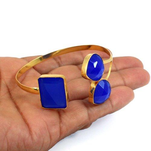 Pear Rectangle Shape Dark Blue Chalcedony Bracelet Adjustable Bracelet Gold Plated Women Bracelet