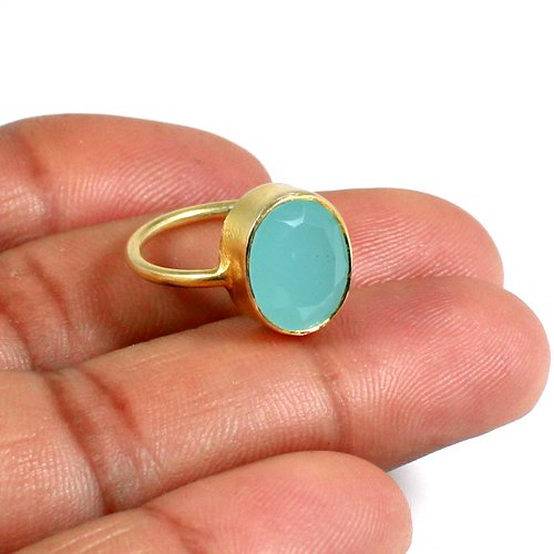 Pedro Dainty Proposal Ring 925 Sterling Silver Ring Natural Aqua Chalcedony Ring