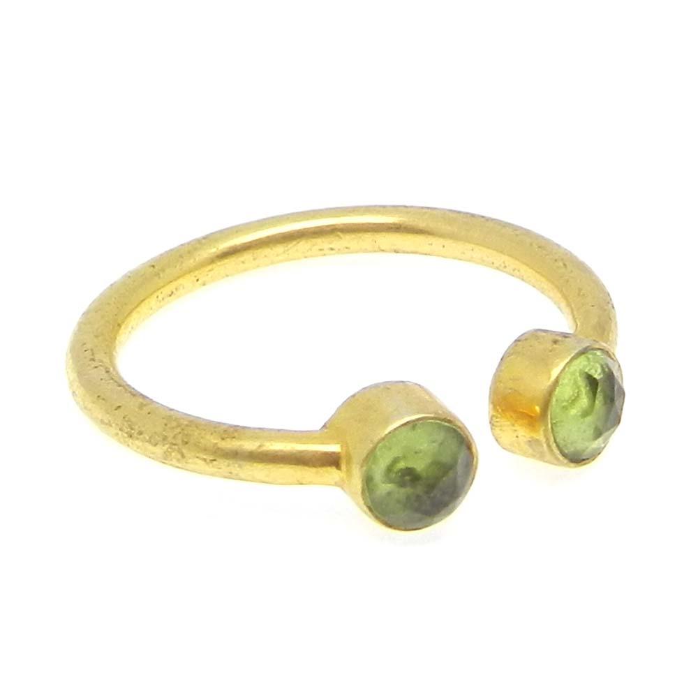 Peridot Gold Plated Designer Adjustable Bezel Ring
