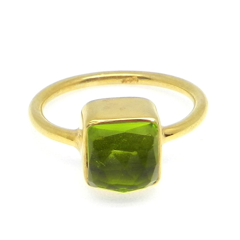 Peridot Hydro 925 Sterling Silver Bezel Set Ring