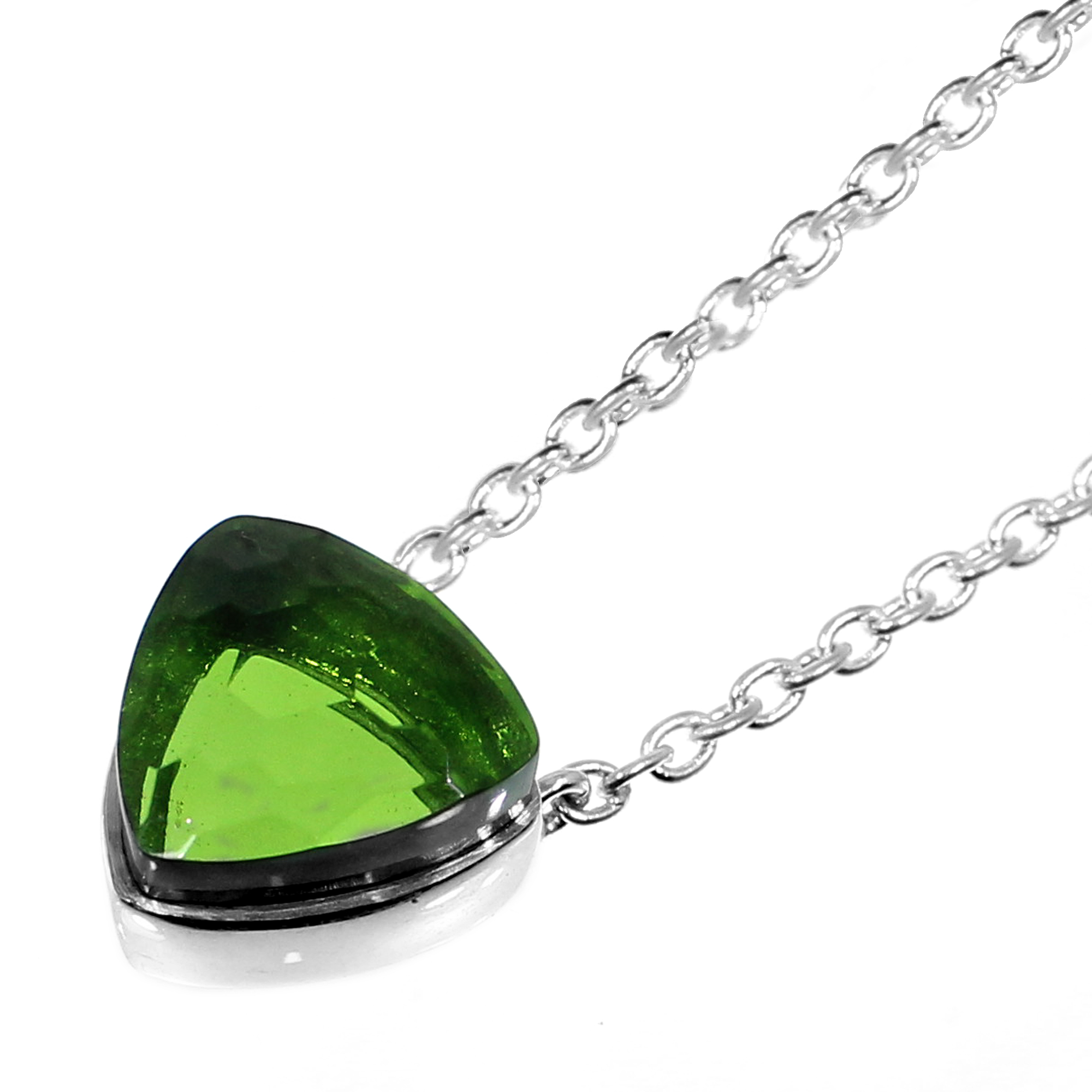 Peridot Hydro 925 Sterling Silver Long Chain Necklace
