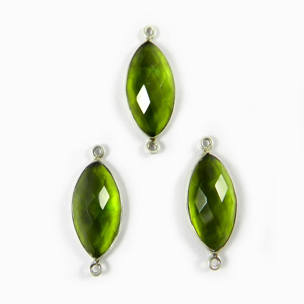 Peridot Hydro Marquise 28x11mm 925 Sterling Silver Double Loop Connector