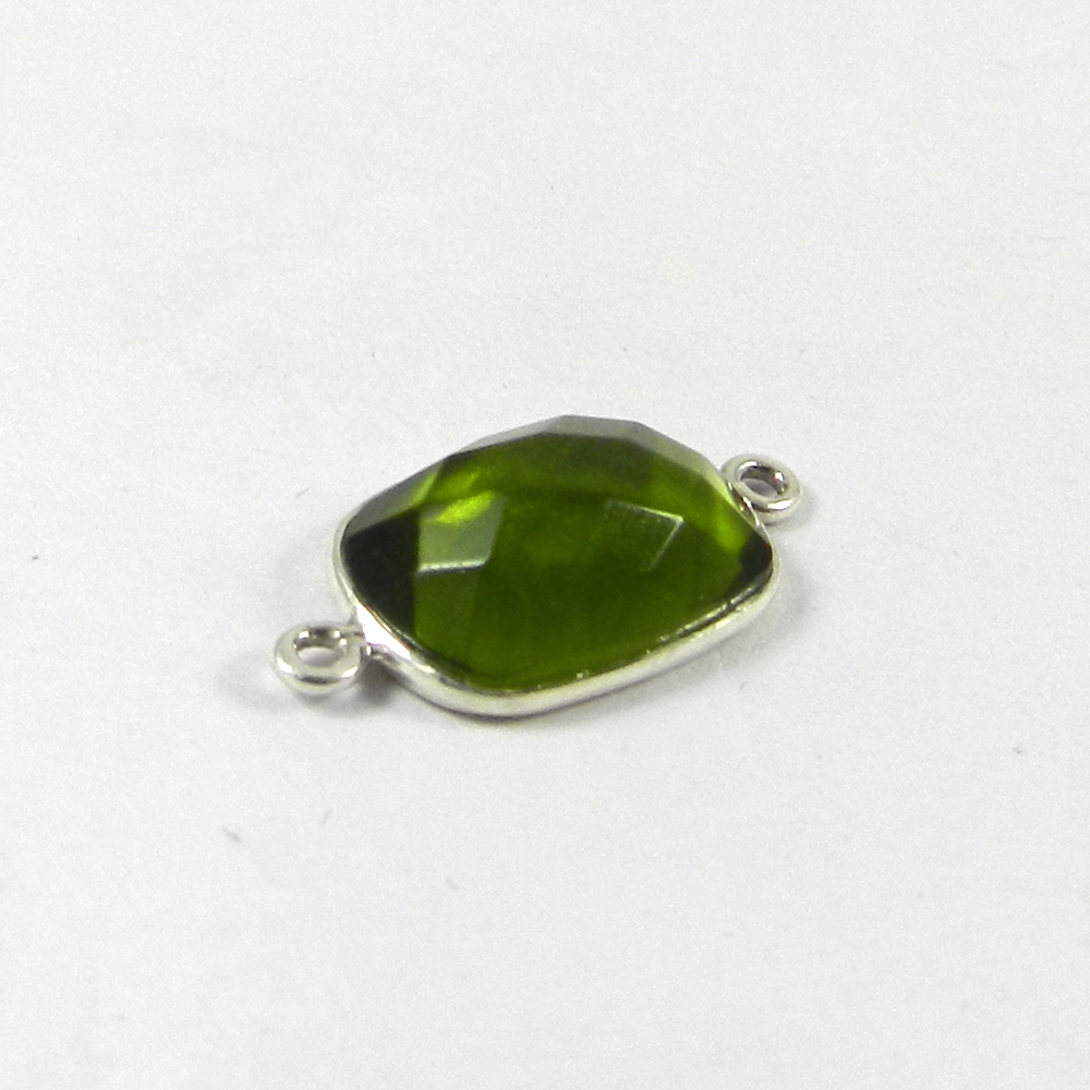 Peridot Hydro Rectangle 21x11mm 925 Sterling Silver Double Loop Connector