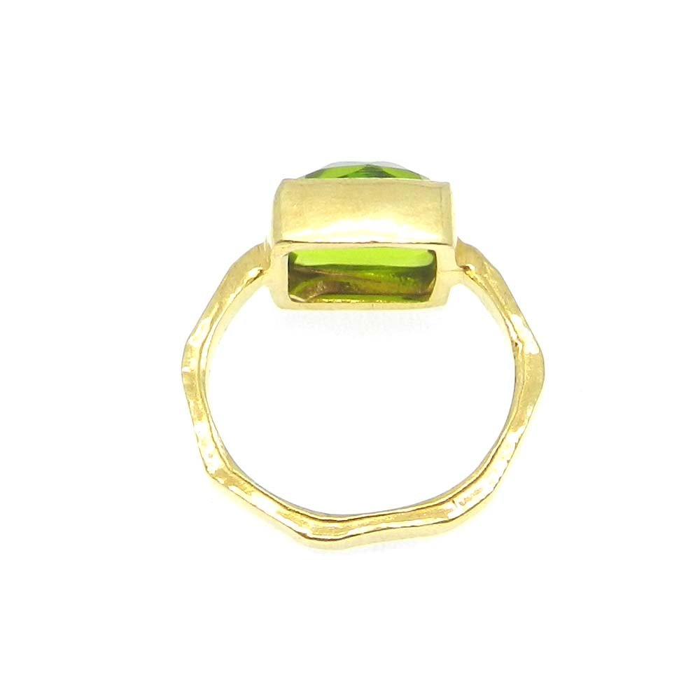 Peridot Hydro Silver Gold Plated Hammered Bezel Set Ring