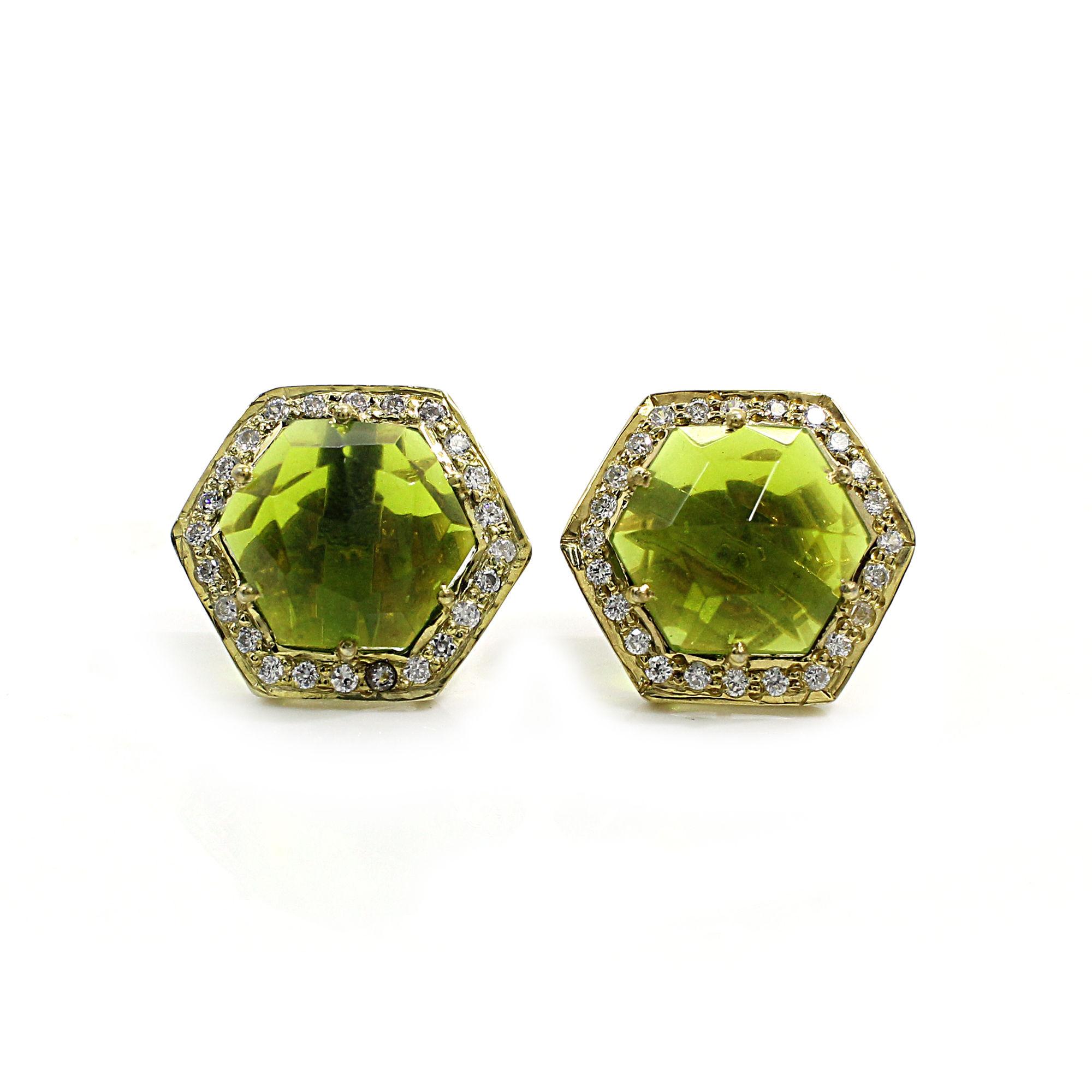Peridot Hydro with CZ Silver Stud Earrings