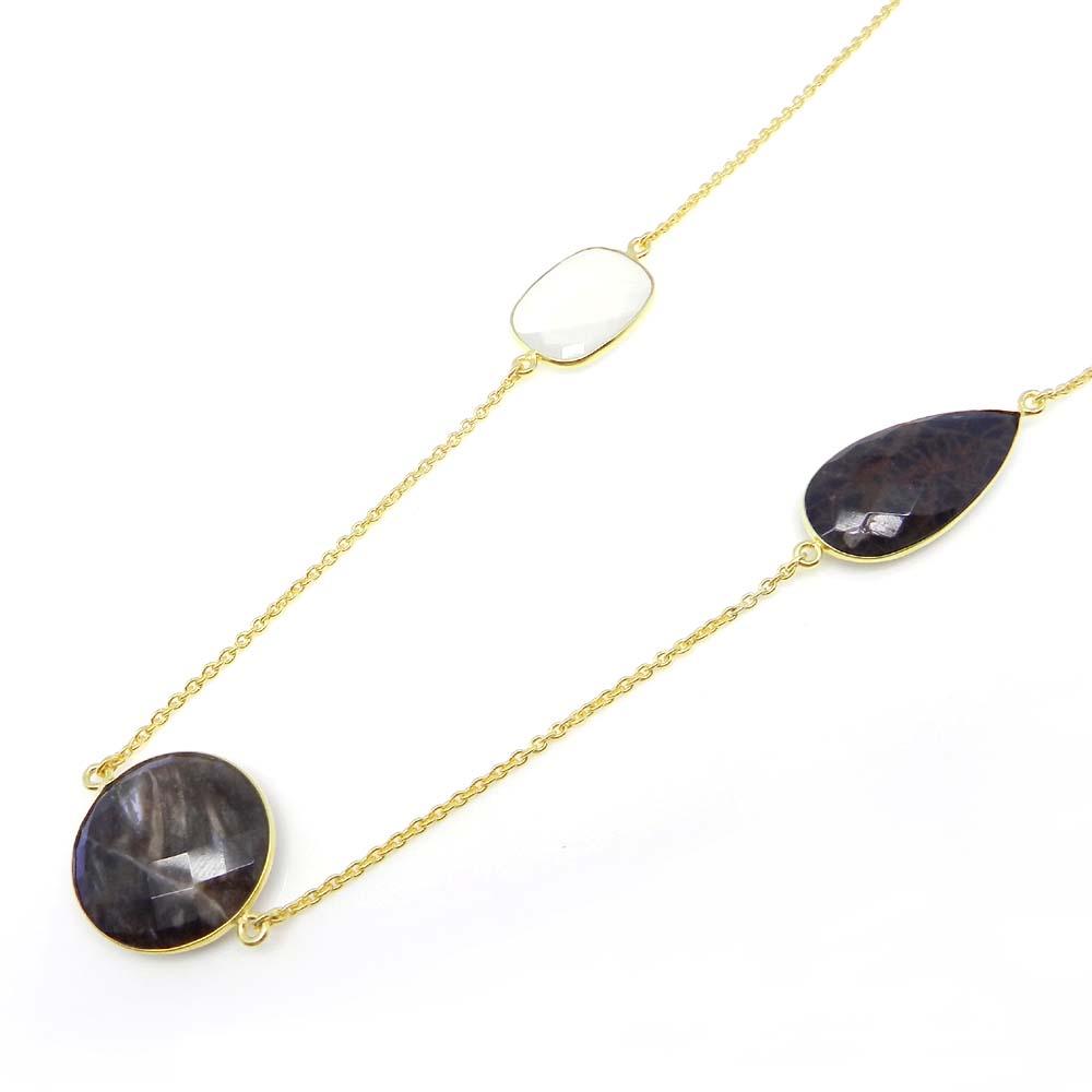 Petrified Wood Jasper,Spider Web Jasper,Chalcedony Gold Plated Long Chain Necklace