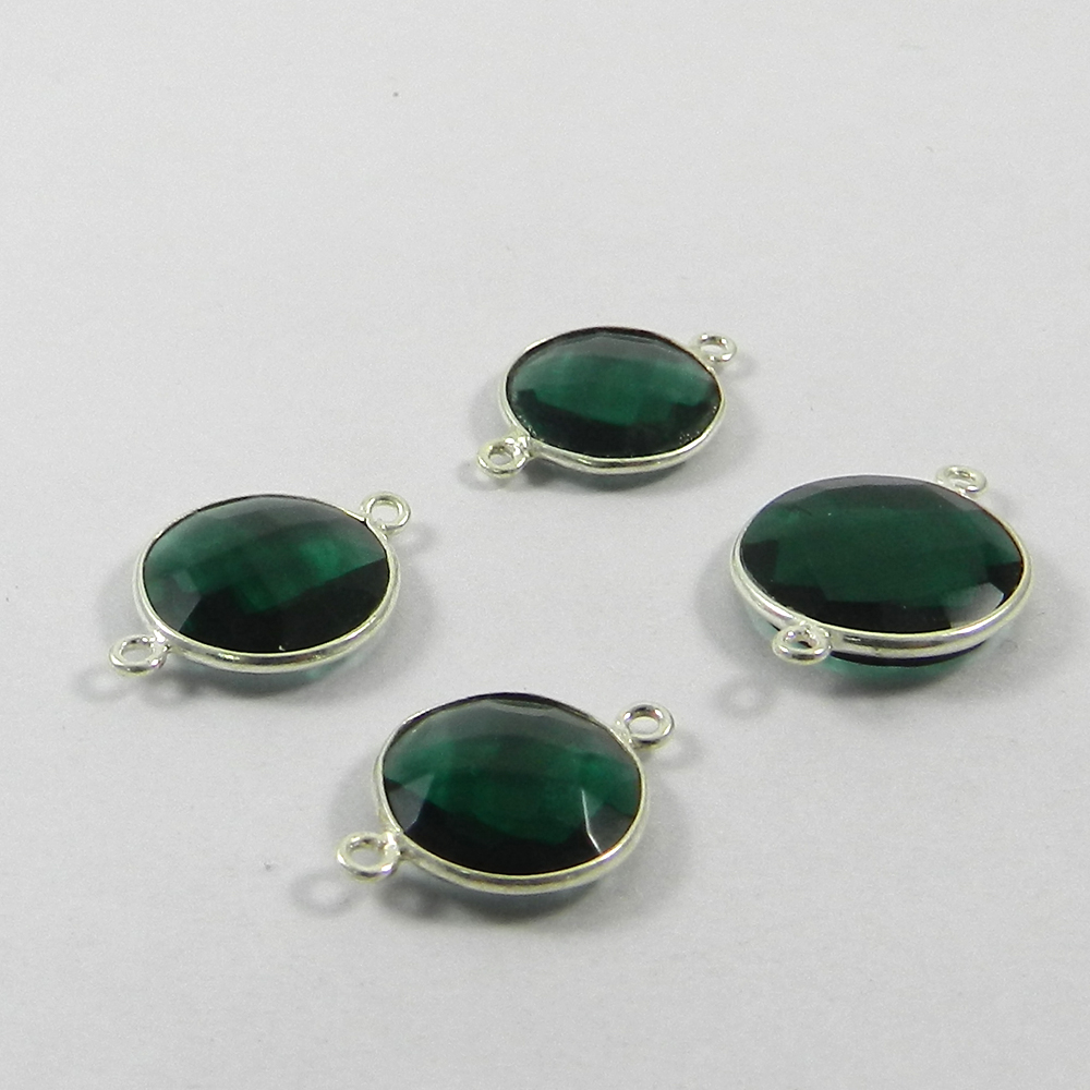 Petrol Tourmaline Hydro 925 Sterling Silver Double Loop Connector