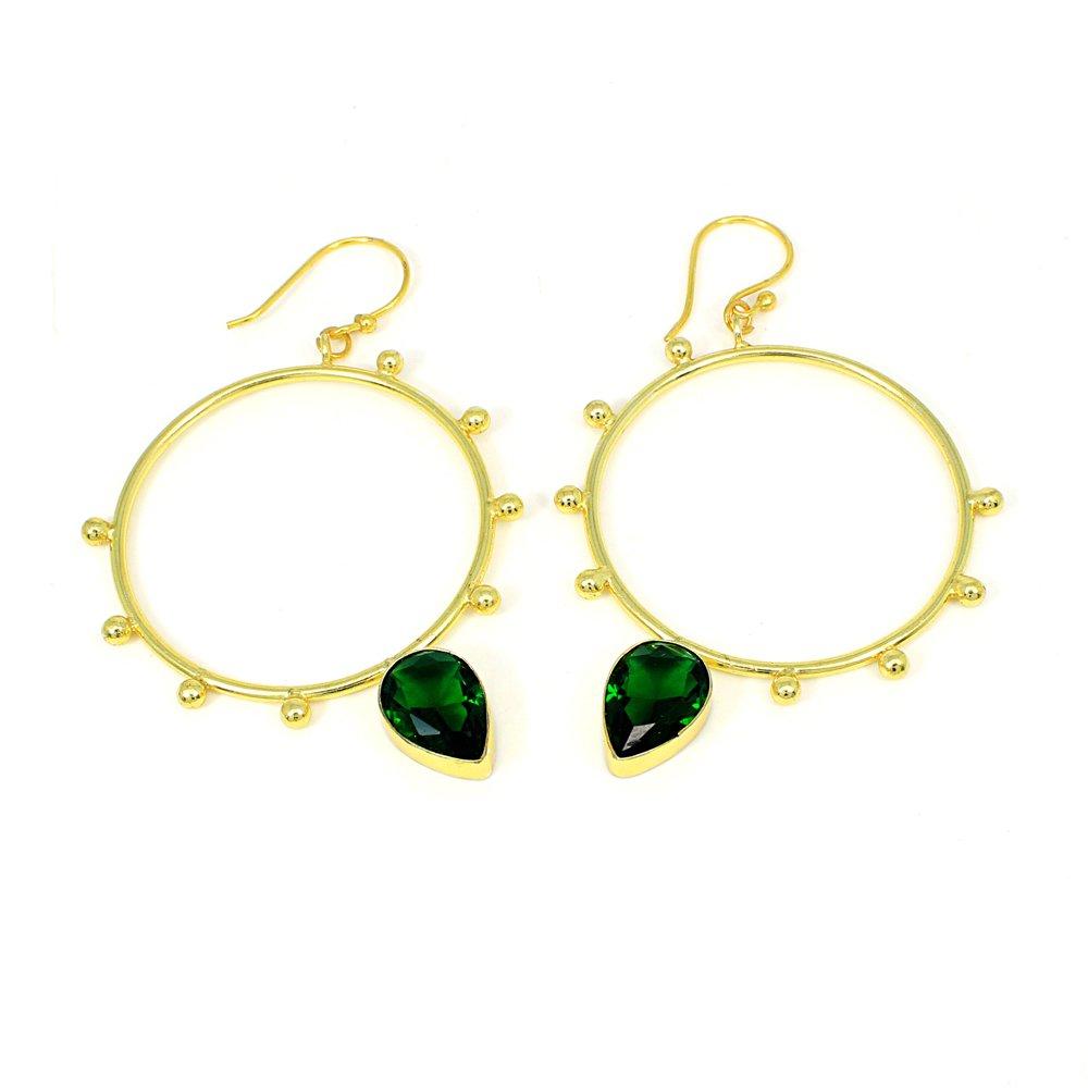 Petrol Tourmaline Hydro Gemstone Brass Vermeil  Designer Bangle Earring