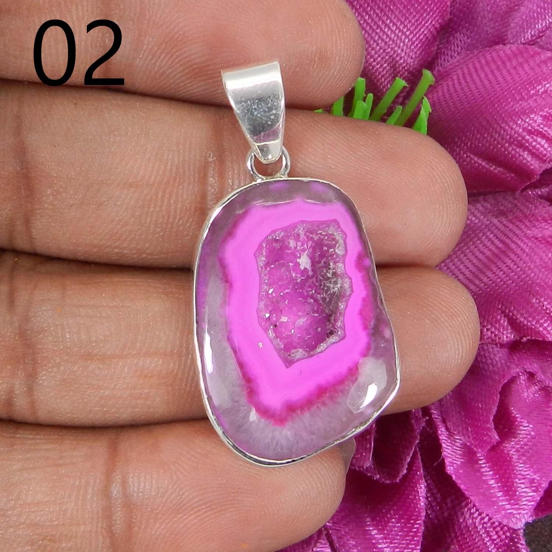 Pink Agate Druzy 925 Sterling Silver Designer Bezel Set Pendant