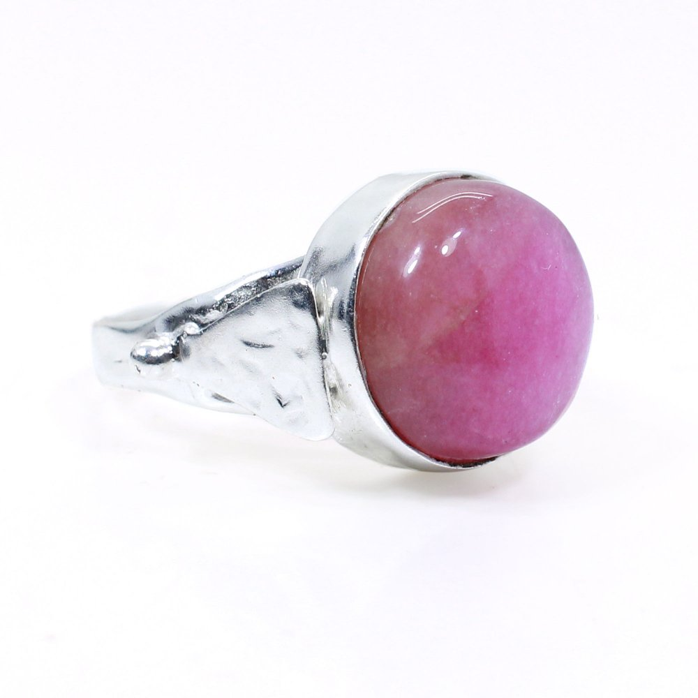 Pink Agate Handmade Silver Plated Bezel Set Ring