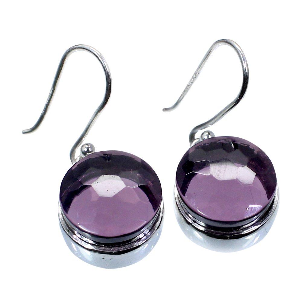 Pink Amethyst Hydro 925 Sterling Silver Handmade Dangle Earring